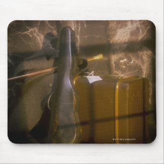 Antique luggage and violin case mousepads