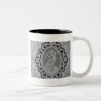 Antique Madeira Embroidered lady Two-Tone Coffee Mug