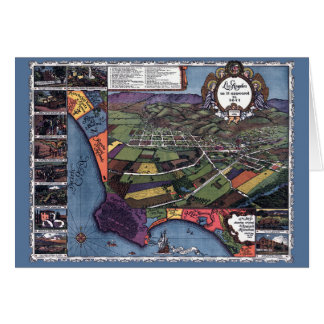 Antique Map, Aerial City of Los Angeles California Card