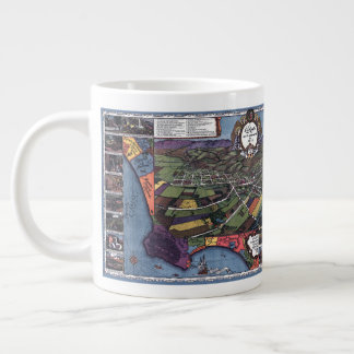 Antique Map, Aerial City of Los Angeles California Giant Coffee Mug