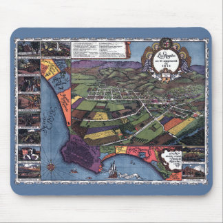 Antique Map, Aerial City of Los Angeles California Mouse Pad