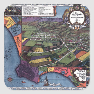 Antique Map, Aerial City of Los Angeles California Square Sticker