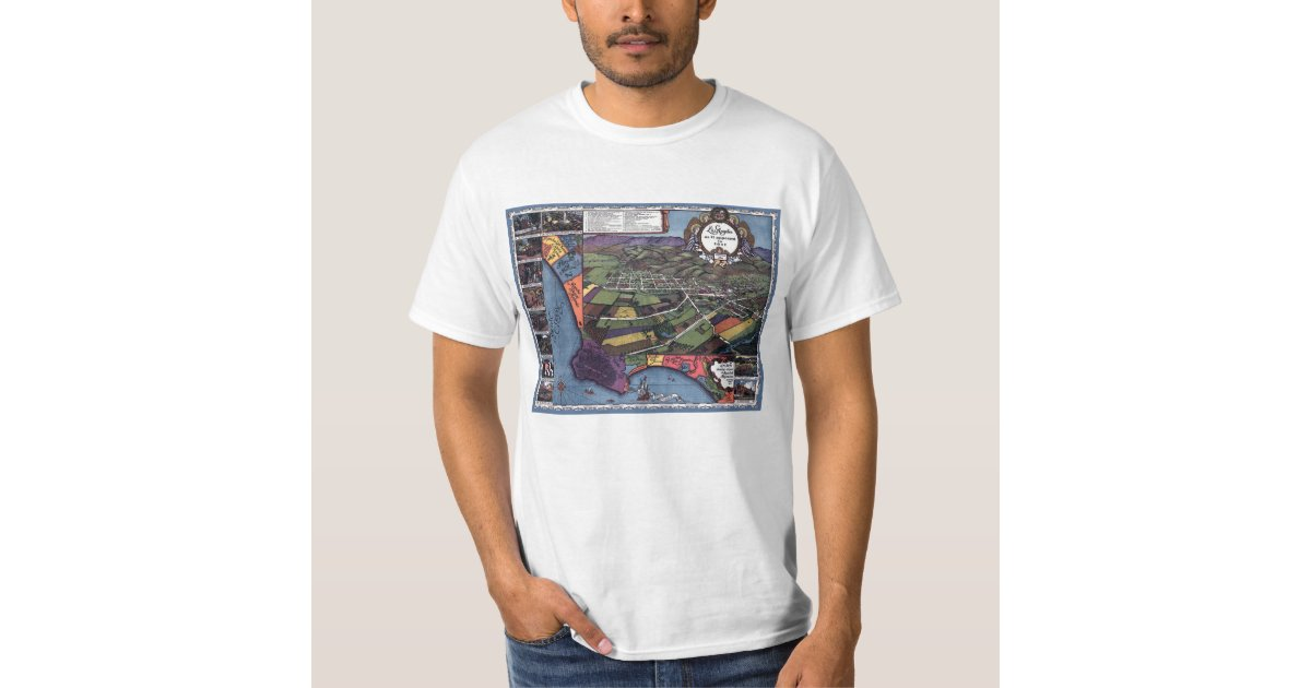 Antique map aerial city of los angeles california t shirt for Los angeles california shirt