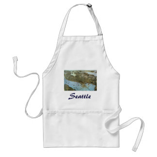 Antique Map Aerial View City of Seattle Washington Adult Apron