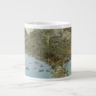 Antique Map Aerial View City of Seattle Washington Giant Coffee Mug