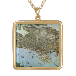 Antique Map Aerial View City of Seattle Washington Gold Plated Necklace