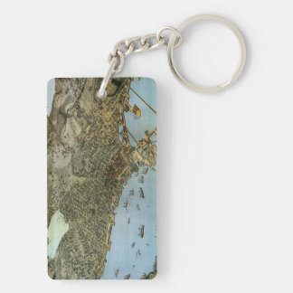 Antique Map Aerial View City of Seattle Washington Keychain