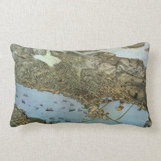 Antique Map Aerial View City of Seattle Washington Lumbar Pillow