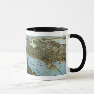 Antique Map Aerial View City of Seattle Washington Mug
