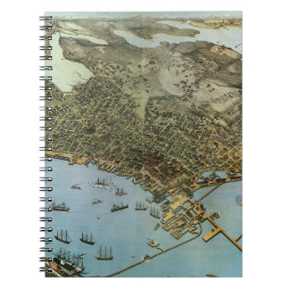 Antique Map Aerial View City of Seattle Washington Notebook