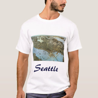 Antique Map Aerial View City of Seattle Washington T-Shirt