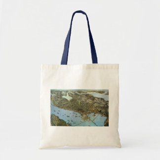 Antique Map Aerial View City of Seattle Washington Tote Bag