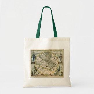 Antique Map, America Sive Novus Orbis, 1596 Canvas Bags