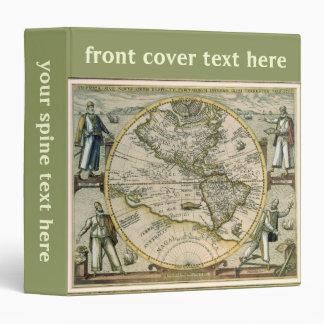 Antique Map, America Sive Novus Orbis, 1596 3 Ring Binder