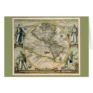 Antique Map, America Sive Novus Orbis, 1596 Card
