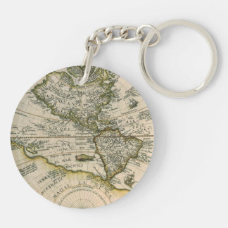 Antique Map, America Sive Novus Orbis, 1596 Double-Sided Round Acrylic Keychain