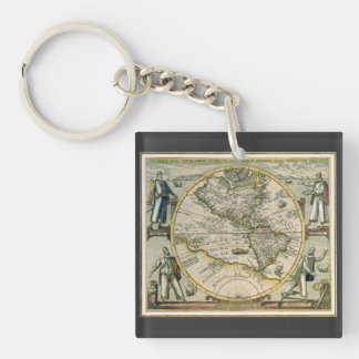 Antique Map, America Sive Novus Orbis, 1596 Double-Sided Square Acrylic Keychain