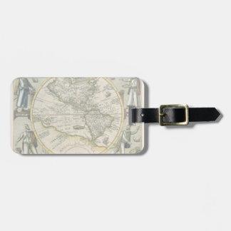 Antique Map America Sive Novus Orbis 1596 Bag Tag