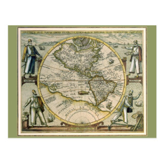 Antique Map, America Sive Novus Orbis, 1596 Postcard