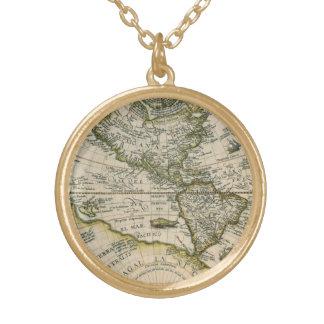 Antique Map, America Sive Novus Orbis, 1596 Round Pendant Necklace