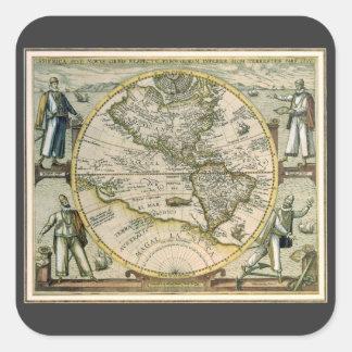 Antique Map, America Sive Novus Orbis, 1596 Square Sticker