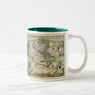 Antique Map, America Sive Novus Orbis, 1596 Two-Tone Coffee Mug