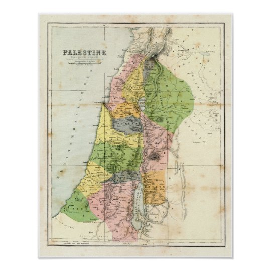 Antique Map - Biblical Palestine Poster