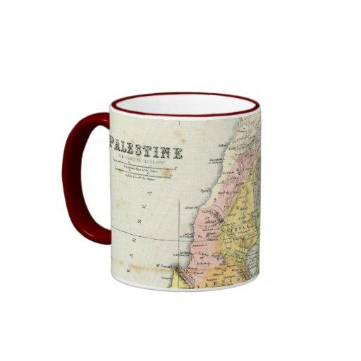 Antique Map - Biblical Palestine Ringer Coffee Mug