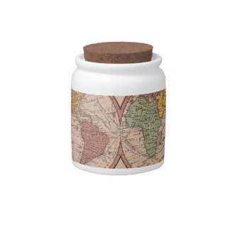 Antique Map Candy Jars