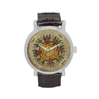 Antique Map Compass Watch