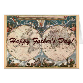 ANTIQUE MAP Father's Day Card