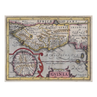 Antique Map, Guinea - African Coast, Kaerius Repro Poster