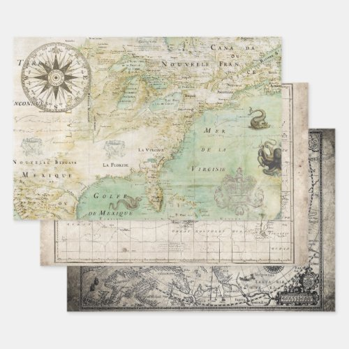 ANTIQUE MAP HEAVY WEIGHT DECOUPAGE WRAPPING PAPER SHEETS