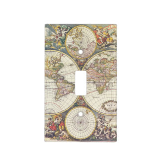 Antique Map Light Switch Cover