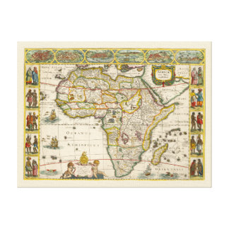Antique Map of Africa by Hondius and Jansson Canvas Print