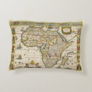 Antique Map of Africa by Hondius and Jansson Decorative Pillow
