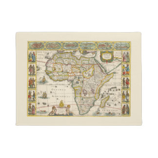 Antique Map of Africa by Hondius and Jansson Doormat