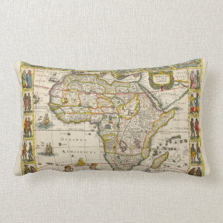 Antique Map of Africa by Hondius and Jansson Lumbar Pillow