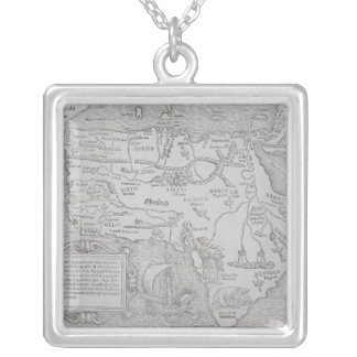 Antique Map of Africa Silver Plated Necklace