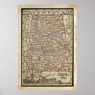 Antique Map of Alabama Poster