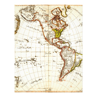 Antique map of Americas Personalized Letterhead