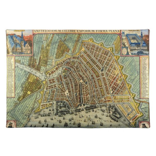 Antique Map of Amsterdam, Holland aka Netherlands Cloth Placemat