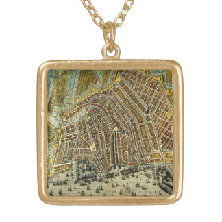 Antique Map of Amsterdam, Holland aka Netherlands Gold Plated Necklace