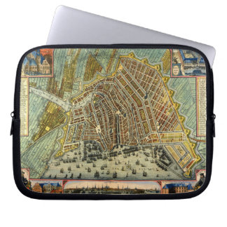 Antique Map of Amsterdam, Holland aka Netherlands Laptop Sleeve