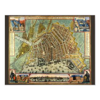 Antique Map of Amsterdam, Holland Invitation