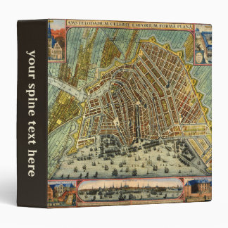 Antique Map of Amsterdam, Netherlands, Holland 3 Ring Binders