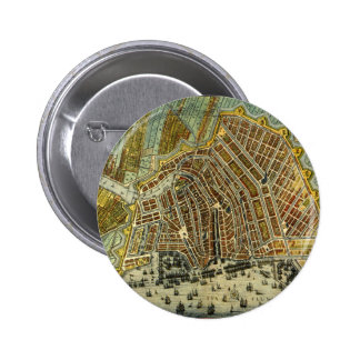 Antique Map of Amsterdam, Netherlands, Holland Button