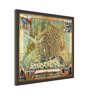Antique Map of Amsterdam, Netherlands, Holland Gallery Wrap Canvas