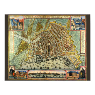 Antique Map of Amsterdam, Netherlands, Holland Card