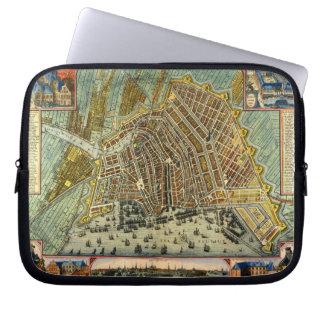 Antique Map of Amsterdam, Netherlands, Holland Laptop Sleeve